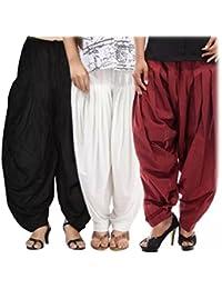 Kurti Studio Women's Cotton Patiala Salwar (semipatcombo4, Black, White and Maroon, Free Size)
