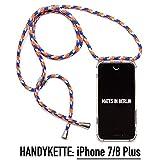 Handgefertigte Designer Handy-Kette für Apple iPhone inkl. Schutzhülle - Handy-Band Handy-Seil Handy-Tasche Umhänge-Band Necklace Strap (iPhone 7/8 Plus, Coast Guard)