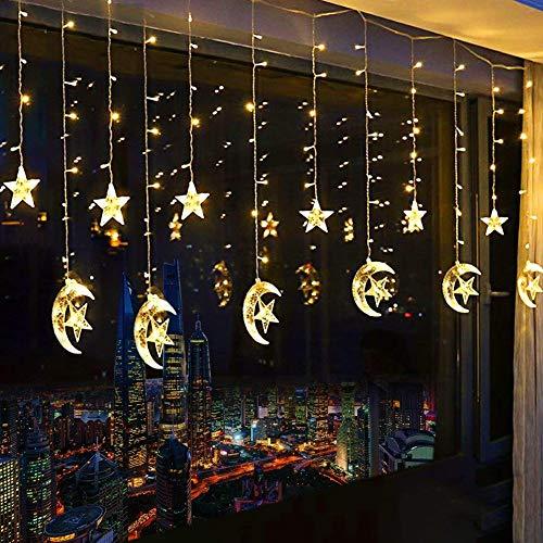 138 Leds Lichterkette Mit 12 Sterne Lichtervorhang 2.5M Sternenvorhang Weihnachten Party Deko Lichter Vorhang Festen Kupfer String Licht Für Fenster Garten Und Haus -