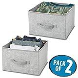 mDesign Juego de 2 organizadores para armarios de tela - Cajas de tela para ordenar armarios - Cajas organizadoras para ropa, mantas y otros accesorios - gris
