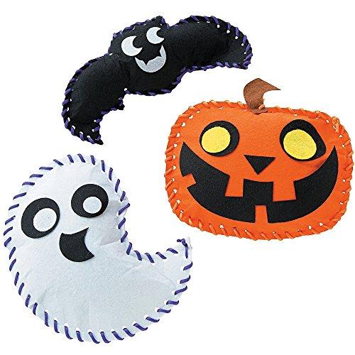 3 x Filz Bastelset Fädelspiel für Halloween Kürbis Fledermaus Gespenst zum Basteln und Spielen