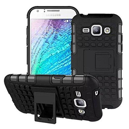 Ramola Hybrid Defender Military Grade Armor Kick Stand Back Case Cover for Samsung Galaxy J2 (2016) (Black)