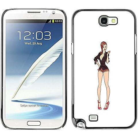 FU-Orionis Impreso colorido protector duro espalda Funda piel de Shell para Samsung Note 2 N7100 - Sexy Legs blanca Bebé Escote Pin Up