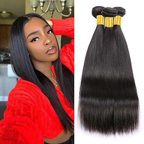 Musi 8a capelli umani brasiliani straight 3 bundles non trasformati dei capelli lisci brasiliani extension capelli 300g nero naturale (10 12 14 pollici)