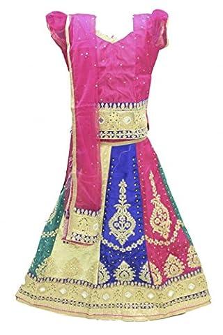 GCC3146 Pink und Burlywood Mädchen Chaniya Choli Navratri Bollywood Chaniya Choli 24 (approx 4-5 (Hot Pink Thread)
