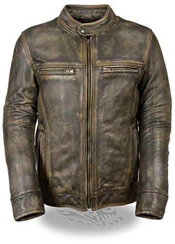 Milwaukee Leather Men's Brown Distressed Leather Scooter Jacket w/ Venting (Black, S) (Leather Boots Black Distressed)