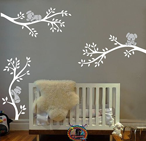 BDECOLL 3 Lovely Koalas wandsticker baum, Babyzimmer Kinderzimmer Entfernbare Wandtattoos,DIY wandtattoo für kinderzimmer (Weiß) (Koala Baum)