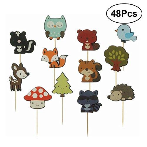 BESTONZON 48 stücke Cupcake Toppers Niedlichen Wald Tier Cupcake Toppers Dekoration Kuchen Picks für Baby Shower Kinder Geburtstagsparty