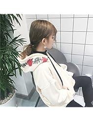 Las Mujeres Del Oto?o 's Las Rosas Bordadas Sudadera con Capucha Suéter Flojo de Manga Larga,Blanco lechoso,Todo el código