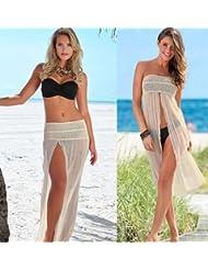 qxj Dos de malla elástico Túnica Blusas faldas la playa Ride en traje de baño bañadores Bikinis, albaricoque,