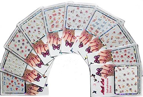 Autoadesivi arte del chiodo 3D adesivi contenenti sottili abbellimenti scintillio per le dita e dei piedi, confezione da 10 stili misti //3D Nail Art Stickers Decals With Subtle Glitter Embellishments For Fingers & Toes, 10 Packs Mixed Styles