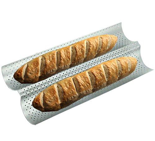 Baguetteblech Baguette Backblech Baguetteform Baguette-Backblech 2 Mulden mit Antihaftbeschichtung für Backen Silber