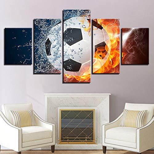 adgkitb canvas 5 Pezzi Home Office Decorazione Pittura Ice Fire Football American Poster Non svanis