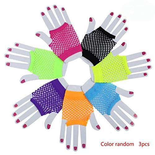 NAYUKY 3 Paare PunkGoth Frauen Disco-Tanz-Kostüm Spitze-Ineinander greifen Netz-Handschuhe Mode Sommer-Süßigkeit-Farben-Handschuhe