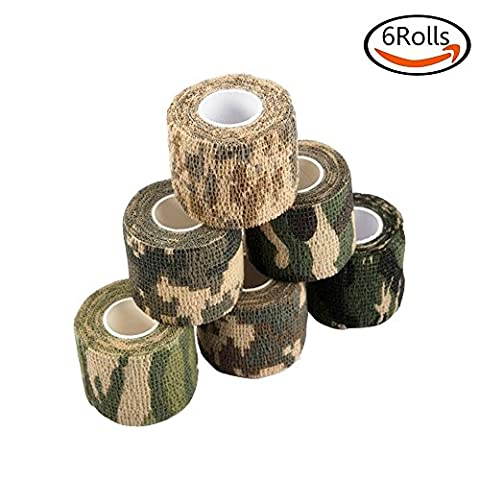 Goodlucky365 6 Rolls Self-adhesive Non-woven Outdoor Camouflage Tapes