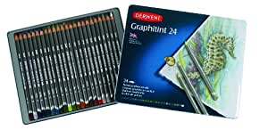 Derwent Graphitint Tinted Water-soluble Graphite Pencils Tin (Set of 24)