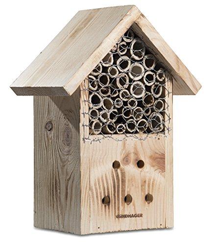 Windhager Insektenhotel ZUR POST, Insektenhaus Nistplatz Brutplatz, Schutz für viele nützliche Insekten, aus Massivholz, braun, 06971