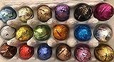 18 Pralinen - Eier im Eierkarton / bunte Mischung / Pistazie Nougat Himbeere Zitrone Karamell Cuberdon Sao Tomé