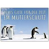 A4 XXL Abschiedskarte PINGUIN IM MUTTERSCHUTZ mit Umschlag - Klappkarte für Kollegin Mitarbeiterin Chefin zur Babypause Elternzeit von BREITENWERK