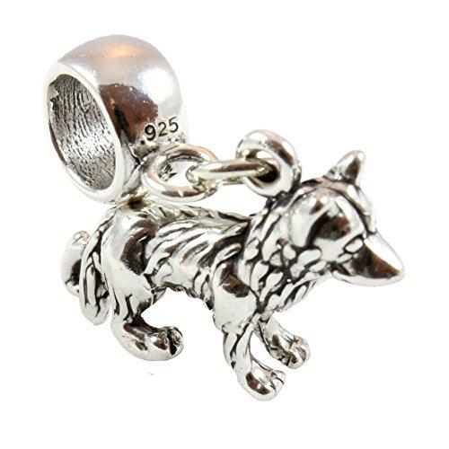 Sterlingsilber Deutsch Shepherd Elsässisch Hund lang Perle Anhänger passend für europäischen Stil Bettelarmband