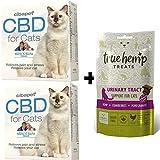 2X Cibapet CBD Pastillen für Katzen zur Entspannung und 1x True Hemp Treats Urinary Tract Katzensnacks für die Harnwege