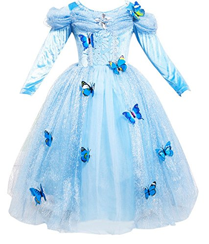 nzessin Kostüm Eiskönigin Kleid für Mädchen Schmetterling Karneval Verkleidung Party Cosplay Faschingskostüm Festkleid Weinachten Halloween Fest Kleid, Farbe: Style 2, Gr. 130 (Monster High Cosplay)
