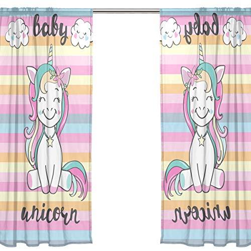 Orediy - Cortinas transparentes de gasa con 2 paneles, diseño de unicornio para bebé, 40 % opacas, cortina larga para ventana, tratamiento de dormitorio, 140W x 200 H