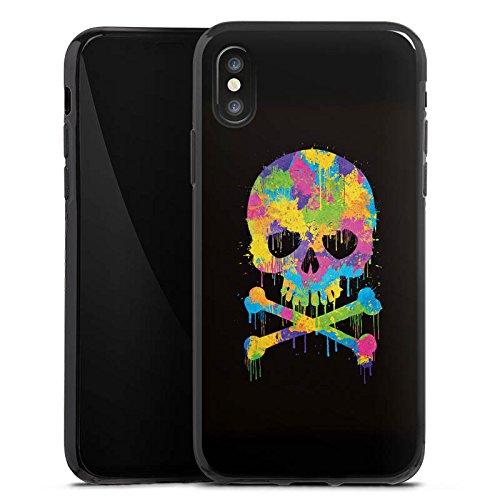 Apple iPhone X Silikon Hülle Case Schutzhülle Skull Watercolour Totenkopf Schädel Silikon Case schwarz