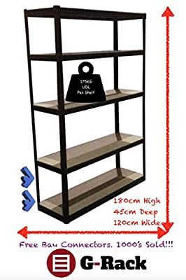 180cm x 120cm x 45cm, Black 5 Tier (175KG Per Shelf), 875KG Capacity Extra Wide Garage Shed Storage Shelving Unit, 5 Year Warranty - low-cost UK light store.