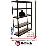 180cm x 120cm x 45cm, negro 5Tier (175kg por estante), 875kg capacidad Extra ancho garaje cobertizo de almacenamiento estantería, 5años de garantía