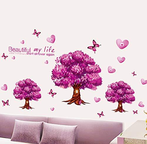 Wandaufkleber entfernen drei bäume lila schlafsofa schmuck schlafzimmer wand 117 * 60 cm