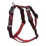 Feltmann Mopsgeschirr Hundegeschirr Soft Nylon, schwarz mit roten Pfötchen, 5-9 kg, 15 mm
