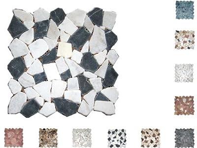 1Q Marmor Mosaik Bruch getrommelt Nero/Bianco von Mosaikdiscount24 auf TapetenShop