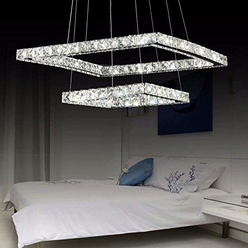 Lampadario moderno di lusso led di loco, placcatura moderna quadrata in acciaio inox lampada da soffitto moderna casa (diametro: 16 * 8 pollici) luce bianca calda con telecomando