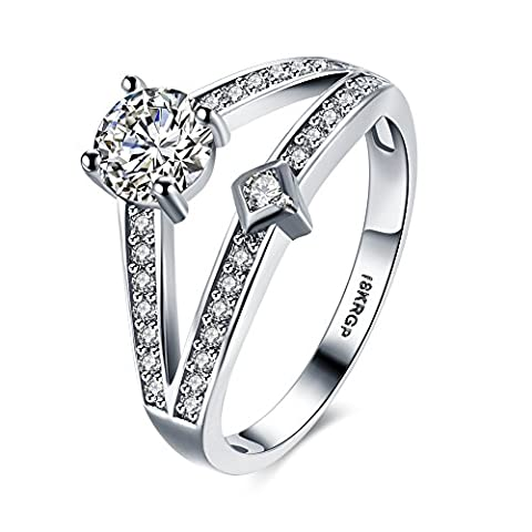 Eternity Love Women Wedding Engagement Rings 18K Gold Plated Cz Diamonds Bands Solitaire Princess Cut Promise Anniversary Bridal Jewelry Infinity Love for Her,