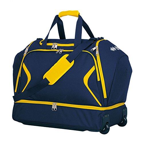 Luther Trol Borsa da viaggio XL · Universal Trolley da viaggio con scomparto portascarpe, marineblau - gelb, Taglia unica