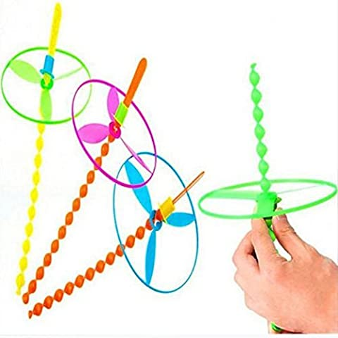 Efbock couleurs assorties Twisty Pull cordes Flying Saucers Helicopters Toy