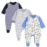 TupTam Baby Jungen Schlafstrampler mit Fuß 3er Pack