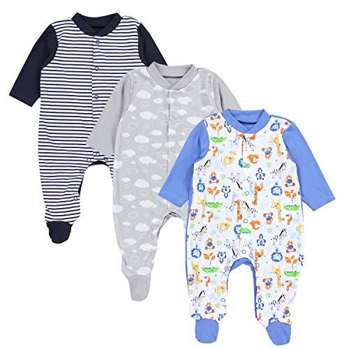 TupTam Baby Jungen Schlafstrampler mit Fuß 3er Pack, Farbe: Farbenmix 2, Größe: 92