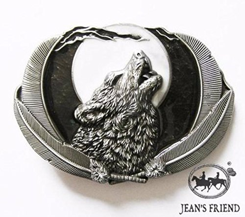 Napolo Buckle Belt Western Vintage Buckle Wolf Man Howl Moon