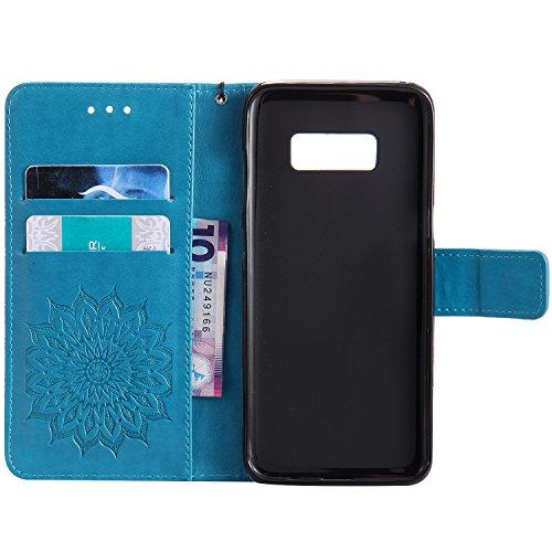 Custodia Galaxy S8 - Dfly Premium PU Goffratura Mandala Design pelle Invisibile Forte chiusura magnetica Design Flip Cover, Per Samsung Galaxy S8, Marrone Blu