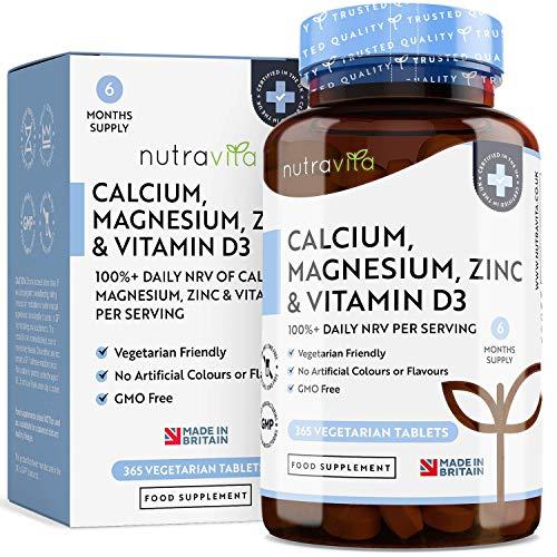 Calcio, Magnesio, Zinc y Vitamina D - 365 Tabletas Vegetarianas (6 Meses) - Suplementos de...