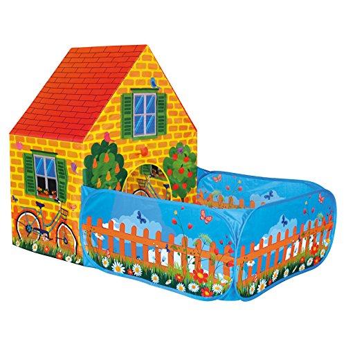 BINO 82816   Kinder Spielzelt Haus mit Vorgarten   für Innen und Außen mit Pop-Up-System