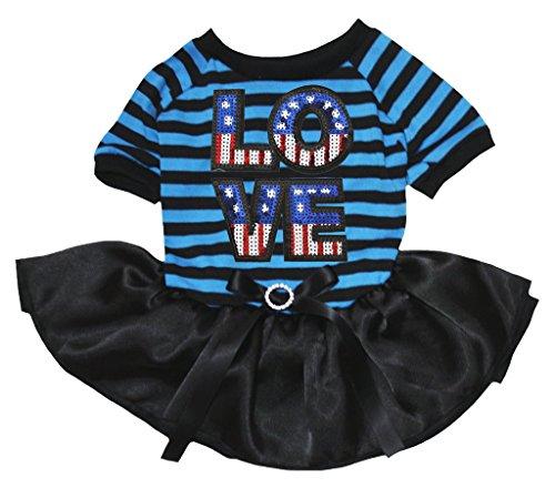 petitebelle Puppy Kleidung Kleid USA Love blau schwarz Streifen Top Schwarz Tutu