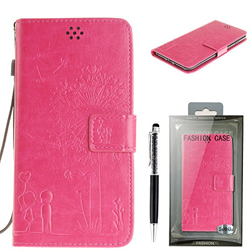 Custodia iPhone 7 Plus, SsHhUu Lusso Stylish Magnetico Stand Card Slot PU Leather Flip Protettivo Portafoglio Slim Cover Case + Stylus Pen per Apple iPhone 7 Plus / iPhone 8 Plus (5.5) Nero rose