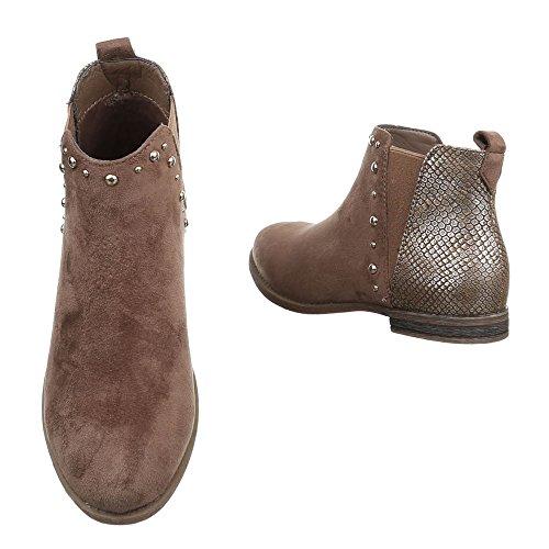 Ital-Design Chelsea Boots Damenschuhe Chelsea Boots Blockabsatz Blockabsatz Stiefeletten Hellbraun JA3137