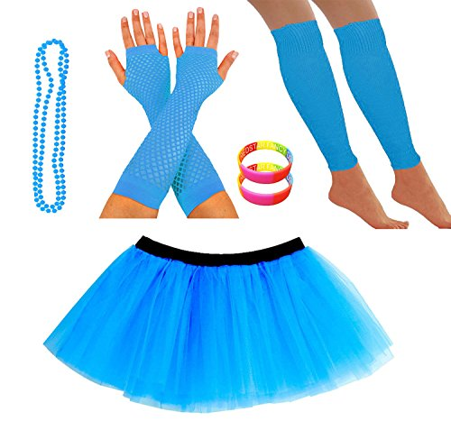 Neon Blue 80s Skirt and Accessories Set for Women - Many Colours - Size 8-12, 14-22