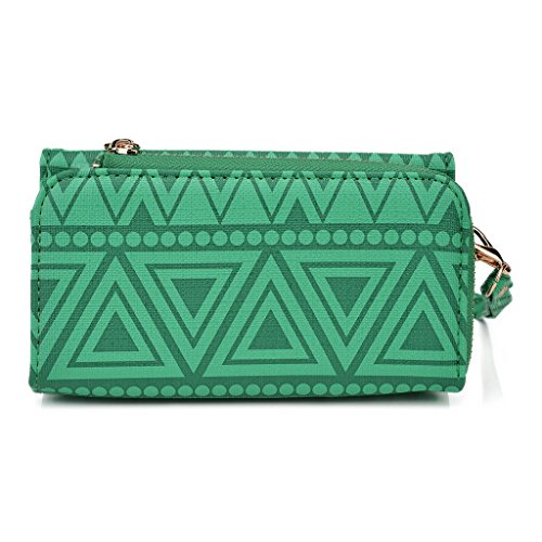Kroo Tribal Urban Style Housse cas Wall Let Embrayage Convient pour Samsung Galaxy Young 2 White with Mint Blue vert