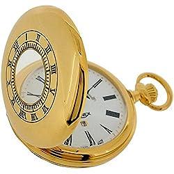 Bernex Quartz Goldplated Demi Hunter Moonphase Date Gents Pocket Watch GB21107