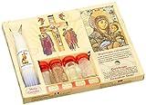 7 in 1 Heilige Land Mega Set Holy Water Soil Öl Weihrauch , Kruzifix, Kreuz , Kerzen und alten byzantinischen Icon
